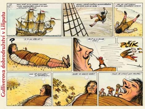 Gulliverova dobrodružství v Liliputu -